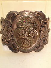 1 OF A KIND! STERLING CUFF BRACELET.HANDCARVED DRAGON BLK M OF PEARL,RUBY,TURQ.