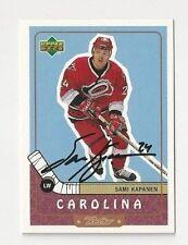 99/00 UD Retro Autographed Hockey Card Sami Kapanen Carolina Hurricanes