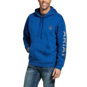 Ariat® Men's Stencil Logo Brushed Fleece Cobalt Hoodie 10033146