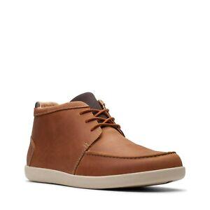 BNIB Clark's Men Un Lisbon Up Tan Leather Lace-up Ankle Boots UK Size 10 G