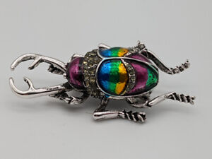 Stag Beetle Brooch Insect Scarab Quirky Cute Bling Bug Multi Coloured Enamel