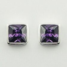 Silver stud earrings faceted amethyst gemstone 925 sterling 9mm square handmade