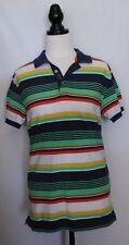 GANT ~ Mens Lime Navy Yellow Orange Striped Short Sleeve Cotton Polo Top Shirt M