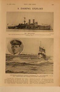 1914 WW1 PRINT MESSUDIYEH OTTOMAN NAVY LIEUT COMMANDER HOLBROOK SUBMARINE B11