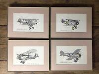 Collection Of Vintage Retro Framed Aeroplane Prints X 4