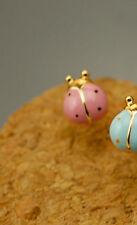 Cute Lady bug Ladybug Enamel Earrings Golden Stud Pierced Kawaii Sweet Novelty