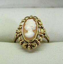 Vintage 14 Carat Gold Fancy Mounted Carved Cameo Ring Size M.1/2