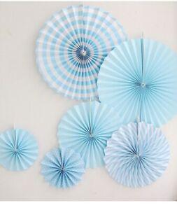 23 Pcs Set of Chic DIY White-Blue Tissue Paper Pom Pom Flower Ball Folding Fan S