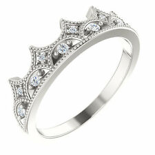 Diamond Crown Eternity Ring, Sterling Silver Non Traditional Wedding Band