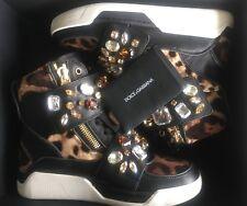 NIB DOLCE & GABBANA Black Leather Crystal Jeweled High Top Sneakers 35 EU