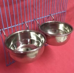 2 x Small Animals Hamster Rat Cage Clip On Water Food Bowl 2 Hook Coop Cup 9cm