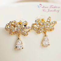 18K Yellow Gold Plated AAA Grade CZ Exquisite Bow-knot Water Drop Stud Earrings