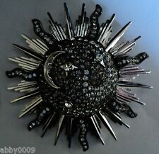 Signed Swan Swarovski Moon and Stars Rhodium Black Diamond Brooch Pin