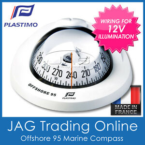 PLASTIMO OFFSHORE 95 WHITE FLUSH MOUNT MARINE COMPASS -BOAT/YACHT & 12V LIGHTING