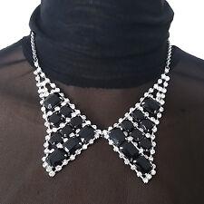 Womens Fashion Jewelry Rhinestone BLACK SQUARE Beads Fake Collar CHOKER Necklace