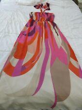 MONSOON GORGEOUS SUMMER HALTER NECK 100% SILK MAXI DRESS UK 10 1960'S 70'S RETRO