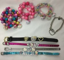 Lot/14 Assorted HELLO KITTY Bracelet Jewelry Slide Charms Straps Chain & Stretch
