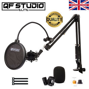 QF Studio Elite Microphone Stand Kit Boom Arm for Music Studio, Podcast, Gaming