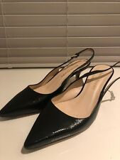 Russell & Bromley Black Sling Back Kitten Heals Size 39.5 Excellent Condition