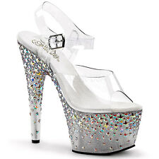 NEW NIB $117 PLEASER CLEAR SILVER HOLOGRAM STARS PLATFORM STRIPPER HEELS 5 35