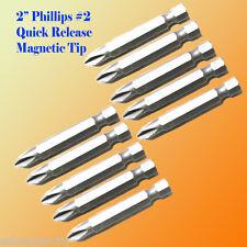 "10 2"" Phillips #2 Screw Driver Bit Quick Release 1/4 Hex Shank Magnetic Tip PH2"