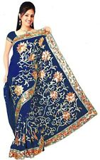 Royal Blue Bollywood Sequin Embroidery Sari Saree Costume danse du ventre Drapes