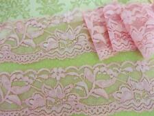 """12 yards Pink Elastic/Stretch 2"""" Wide 55mm Floral Lace Trim/sewing/sew T209 LAST"""