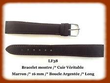 BRACELET MONTRE CUIR VÉRITABLE LONG /* MARRON /* 16 mm REF.LF38