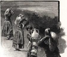 Donne di Castrogiovanni. Enna.Costumi. Sicilia.Stampa Antica + Passepartout.1895