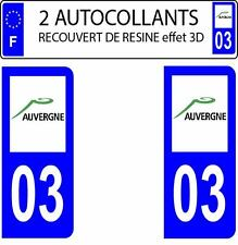 2 stickers autocollants plaque immatriculation auto Départe 03 DOMING 3D RESINE