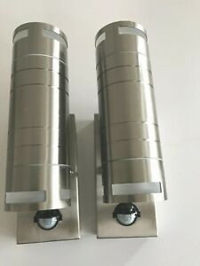2 x Stainless steel indoor & outdoor up & down led wall lamps / lights IP44 PIR