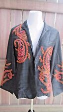 Anu by Natural Jacket Small Paisley Black Silk Colorful Embroidered S