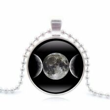 UK TRIPLE MOON GODDESS PENDANT NECKLACE Jewellery Gift Idea Witchcraft Pagan