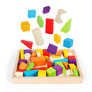 NEW 30 WOODEN BLOCKS Educational Child Play Learning Classic Building Shapes Toy