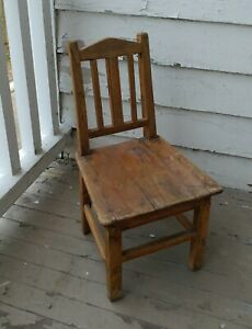 Antique Small Childs Chair Early 1900s Wood Farmhouse Home School Chair