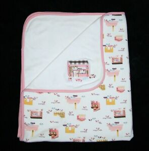 Gymboree When In Rome Baby Girl Cotton Blanket White Pink Scooter Cafe 2006