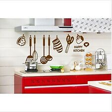 Happy Kitchen Tools Glove Wall Stickers Art Dining Room Removable Decor Decal