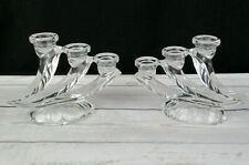 2 Clear Crystal 3 arm Taper Candle Holders Made in Germany 007338 Original Box