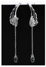 Schöne Flügel Ohrklips Silber mit Kristall auf einer Kette