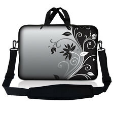 "13.3"" 13"" Laptop Mackbook Chromebook Sleeve Bag Case w Shoulder Strap Floral S35"