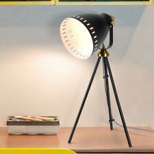 HOMCOM 40W Industrial Tripod Table Lamp Adjustable Shade w/ Switch Metal Black