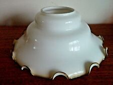 Lovely Retro Country Ceiling Light, Large Glass Shade White/Brown Rise and Fall