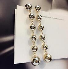 Fashion Women Silver Gold Ball Drop Dangle Stud Long Tassel Beads Metal Earrings