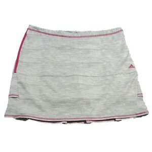 Adidas Golf Skirt Skort Clima Cool Back Ruffles Heather Gray With Pink Size 12