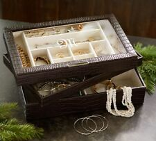 Pottery Barn McKenna Leather Stacking Clear Top Jewelry Box Crocodile NIB Gift