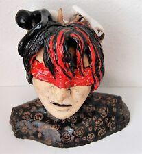 Keramik Büste Schädel Plastik Frau Dame Geister Figuren klettern aus Kopf Psycho