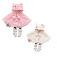 Lovely Baby Girls Cat Hooded Cloak Poncho Jacket Outwear Kids Warm Coat Clothes