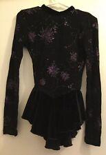 Girls Rebel Skate Wear Xs Ls Black Velvet Purple Glitter Ice Skating Dress