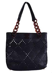 CHANEL Black Caviar Tortoise Shell CC Leather Mini Shopper Tote Bag Purse