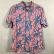 Chubbies Mens Tropical Floral Stretch Shirt Sz XL Blue Peach